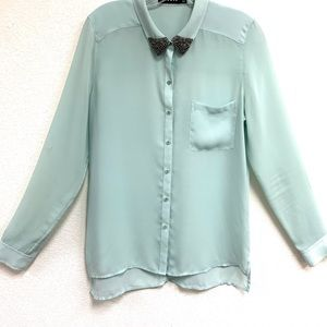 Trouve Beaded Collar Button Down Blouse